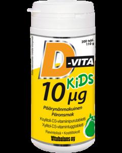 D-vita kids 10µg päärynä 200 tabl