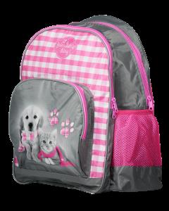 Kissa & koira koulureppu vaaleanpunainen
