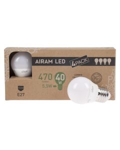 Airam led mainoslamppu E 27, 5,5W, 470lm, 4-pack