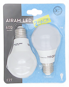 Led-lamppu 7 W E27 vakiokupu 2 kpl